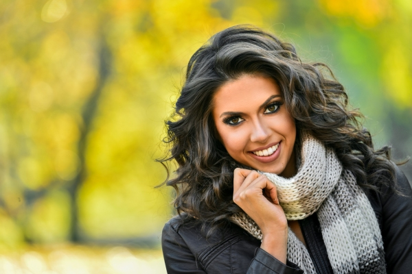 Portrait of Young Smiling Woman. Beauty Fashion Model Girl with